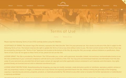 Screenshot of Terms Page theashramyoga.com - Terms of Use   The Ashram Yoga - captured July 8, 2016