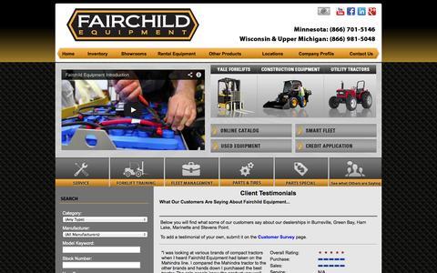 Screenshot of Testimonials Page fairchildequipment.com - Warehouse Equipment, Forklift, Scissor Lift & Floor Scrubber Dealer Testimonials MI, WI, MN: Yale, JLG, Bendi & Mahindra Sales, Parts, Repair, Rental - captured Sept. 30, 2014