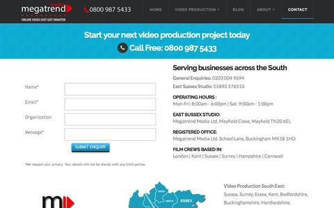 Screenshot of Contact Page megatrendmedia.com - Get in touch - Video Production & Interactive Video Solutions | MegatrendMedia.com - captured Nov. 28, 2016