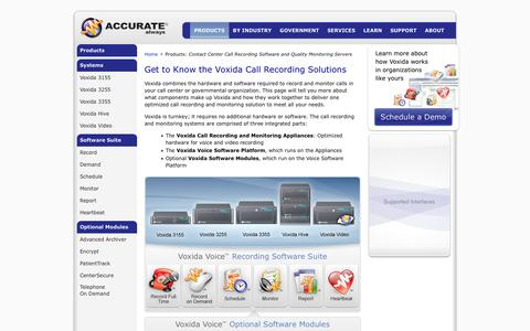 Screenshot of Products Page accuratealways.com - Contact Center Call Recording Software and Servers for Government and Customer Service Centers - captured Feb. 5, 2016