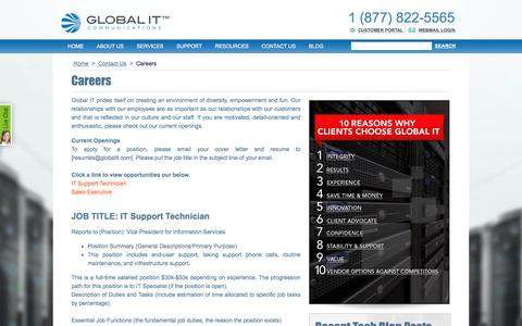 Screenshot of Jobs Page globalit.com - Global IT careers - captured July 10, 2016