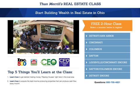 Screenshot of Landing Page fortunebuilders.com - Than Merrill's Real Estate Class - captured March 23, 2017