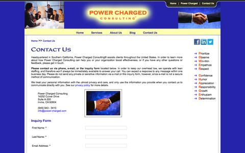 Screenshot of Contact Page power-charged.com - Contact Us - Power Charged Consulting - captured Jan. 30, 2016