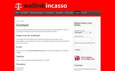 Screenshot of Contact Page wellinkincasso.nl - Contact | Wellink Incasso - captured Oct. 20, 2018