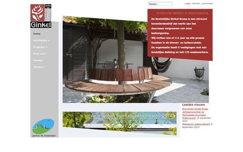 Screenshot of Home Page ginkelgroep.nl - Hoveniersbedrijf Koninklijke Ginkel Groep - captured Oct. 6, 2014