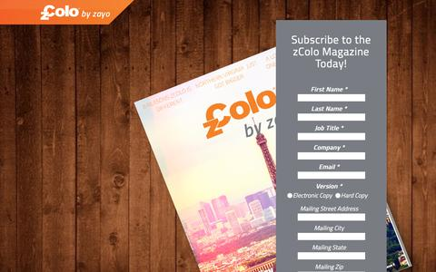 Screenshot of Landing Page zayo.com - Sign Up to Receive your zColo Magazine! - captured March 26, 2018