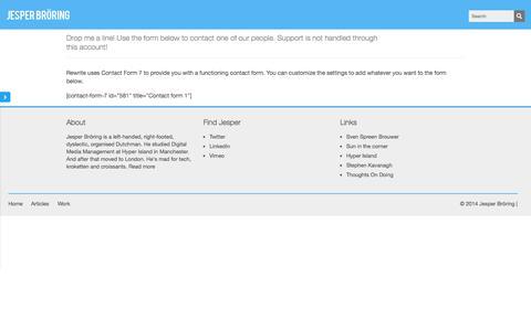 Screenshot of Contact Page jbroring.nl - Contact Me | Jesper Bröring - captured Oct. 6, 2014