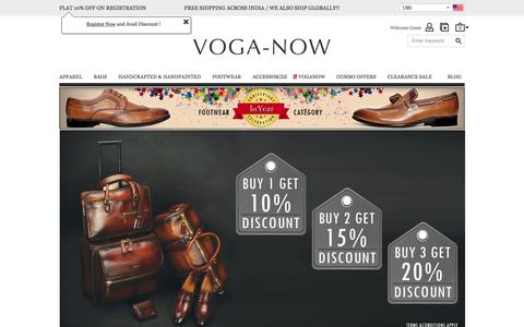 Screenshot of Home Page voganow.com - 100% Genuine Leather Accessories: Buy Leather Jackets, Bags, Belts, Wallets, Footwear For Men & Women In India   Voganow.com - captured Dec. 5, 2016