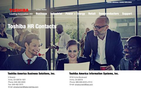 Screenshot of Jobs Page toshiba.com - Human Resources Contacts - Careers - Toshiba America - captured March 29, 2016