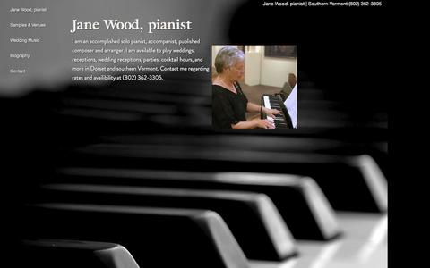 Screenshot of Home Page keyboardstyling.com - Jane Wood, piano player for hire for functions and weddings - Southern Vermont - captured June 17, 2016