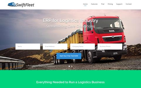 Screenshot of Home Page swiftfleetmanager.com - Inventory, Asset and Fleet Management Software | Logistics ERP - captured Dec. 5, 2016