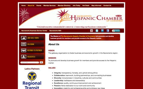 Screenshot of About Page sachcc.org - About Us - Sacramento Hispanic Chamber of Commerce - captured Oct. 4, 2014