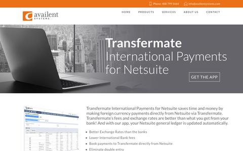 Screenshot of Products Page availentsystems.com - Foreign Currency Payment Netsuite | Netsuite Consultatnt | Availent Systems - captured July 27, 2016