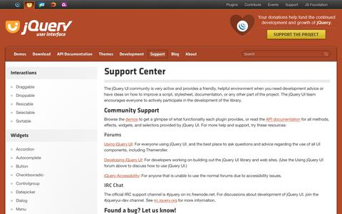 Screenshot of Support Page jqueryui.com - Support Center | jQuery UI - captured Sept. 21, 2018