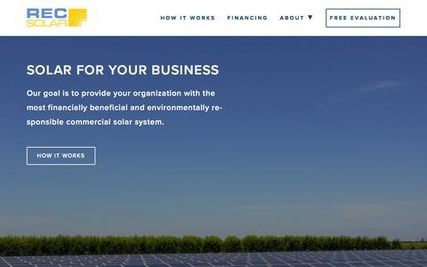 Screenshot of Home Page recsolar.com - Commercial Solar for Businesses | REC Solar - captured Feb. 20, 2016