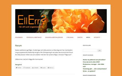 Screenshot of Press Page ellerr.se - Forum för att diskutera psykosociala arbetsmiljöfrågor - captured Oct. 2, 2014