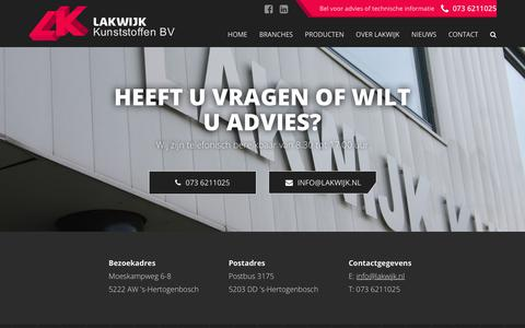 Screenshot of Contact Page lakwijk.nl - Contact - Lakwijk Kunststoffen B.V. - captured Dec. 14, 2018