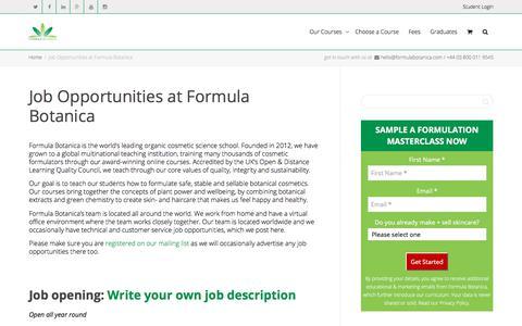 Screenshot of Jobs Page formulabotanica.com - Job Opportunities at Formula Botanica - captured Aug. 20, 2018