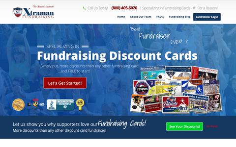 Screenshot of Home Page xtramanfundraising.com - Fundraising Cards - Rated The #1 Discount Card Fundraiser - captured Oct. 9, 2018