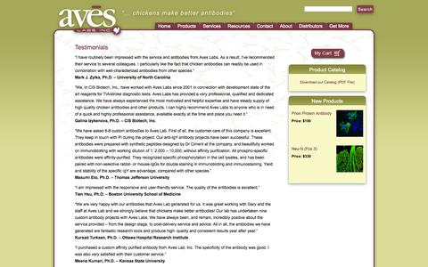 Screenshot of Testimonials Page aveslab.com - Aves Labs Testimonials and Reviews | Aves Labs, Inc. - captured Oct. 4, 2014