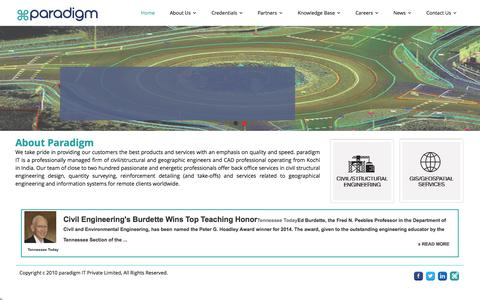 Screenshot of Home Page paradigm.in - Structural Design, Construction Design, Building Design - Civil/Structural Engineering - paradigm IT | Structural Design, Construction Design, Building Design – Civil/Structural Engineering – paradigm IT - captured Oct. 1, 2014
