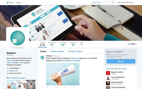 Screenshot of Twitter Page twitter.com - Dokeos (@dokeos) | Twitter - captured Oct. 1, 2015