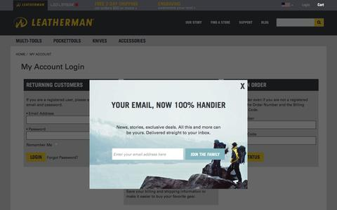 Screenshot of Login Page leatherman.com - Login - Leatherman - captured Dec. 20, 2016