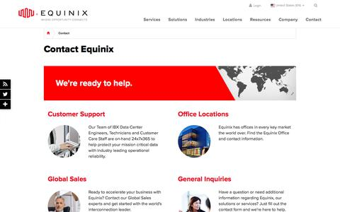 Screenshot of Contact Page equinix.com - Contact Equinix - Equinix Global Contact Informaton - captured April 21, 2018