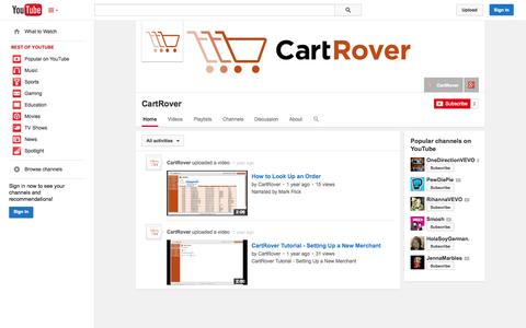 Screenshot of YouTube Page youtube.com - CartRover  - YouTube - captured Oct. 22, 2014