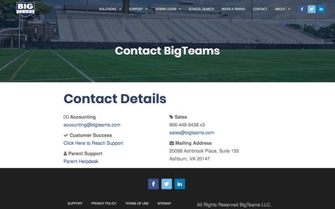 Screenshot of Contact Page bigteams.com - Contact for Atheletic Management Platform & Game Scheduling Software - Schedule Star - captured Aug. 23, 2019