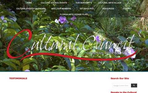 Screenshot of Testimonials Page cultural-council.org - Testimonials | Cultural Council of Indian River County - captured Sept. 30, 2018