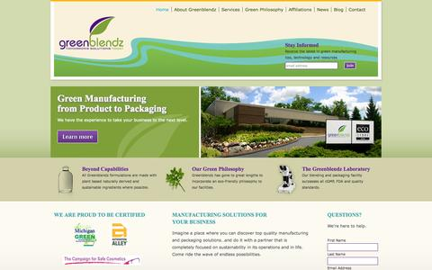 Screenshot of Home Page greenblendz.com - Product Manufacturing | Greenblendz | Green Products, Eco Products, Eco Packaging, Cosmetic, Chemical, Cleaning Product Manufacturer | Auburn Hills, Michigan - captured Sept. 30, 2014