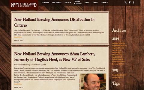 Screenshot of Press Page newhollandbrew.com - Press Releases | New Holland Brewing - captured Oct. 26, 2014
