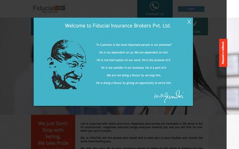 Screenshot of Home Page fiducial.in - FIDUCIAL | Insurance Company in India | Travel | Health | - captured Feb. 9, 2016
