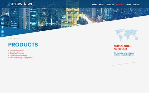Screenshot of Products Page arrowdawn.com - Products | Arrowdawn - Cisco IP Telephony, Business Networking and Proactive Support Specialists headquartered in Aberdeen, Scotland - captured Oct. 4, 2014