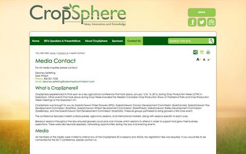 Screenshot of Press Page cropsphere.com - CropSphere Media Contacts - captured April 7, 2016