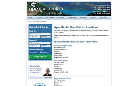 New Zealand Rental Car Locations | Apex Car Rentals New Zealand