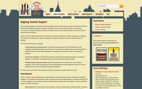 Screenshot of Support Page bpe.org - Ongoing Teacher Support | BPE - captured Oct. 4, 2014