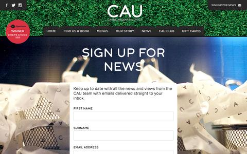 Screenshot of Signup Page caurestaurants.com - Sign up for News - CAU Restaurants - captured March 1, 2016
