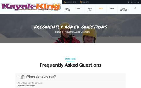 Screenshot of FAQ Page kayak-king.com - Frequently asked questions - Kayak-King tours Pembrokeshire, Wales. - captured Sept. 20, 2018