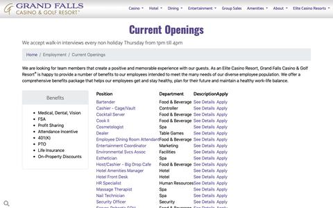 Screenshot of Jobs Page grandfallscasinoresort.com - Careers - Grand Falls Casino & Golf Resort® - captured Dec. 8, 2018