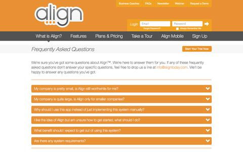 Screenshot of FAQ Page aligntoday.com - Align :: Align Your Team to Run Efficiently :: Frequently Asked Questions - captured Sept. 30, 2014