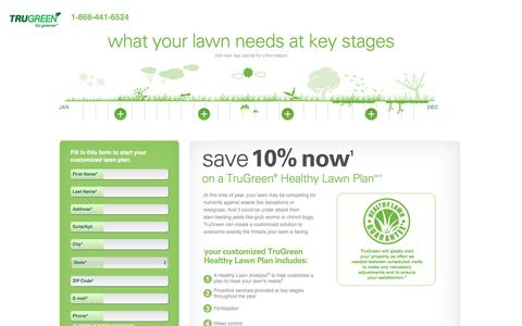 Screenshot of Landing Page trugreen.com - Save 10% now on a TruGreen® Healthy Lawn Plan℠- captured May 21, 2016