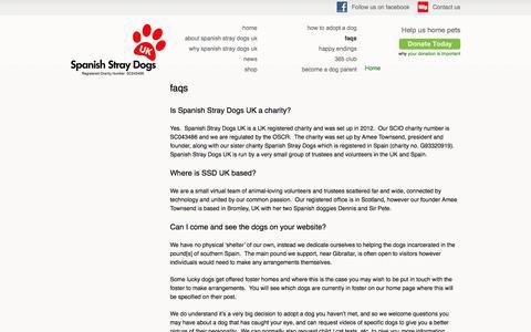 Screenshot of FAQ Page spanishstraydogs.org.uk - faqs | Spanish Stray Dogs UK - captured Feb. 15, 2016