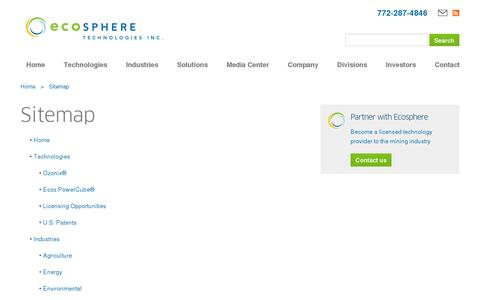Screenshot of Site Map Page ecospheretech.com - Sitemap :: Ecosphere Technologies, Inc. (ESPH) - captured July 19, 2014