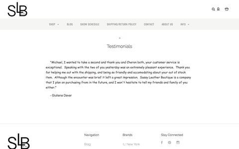 Screenshot of Testimonials Page sassyleatherboutique.com - Testimonials | Sassy Leather Boutique - captured July 9, 2018