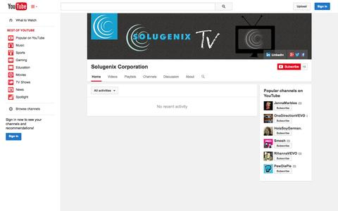 Screenshot of YouTube Page youtube.com - Solugenix Corporation  - YouTube - captured Oct. 26, 2014