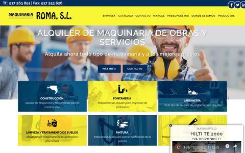 Screenshot of Home Page maquinariaroma.es - Alquiler de maquinaria y herramientas de obra y construcción en Madrid - captured Nov. 6, 2018