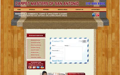 Screenshot of Contact Page carpetmastersofsa.com - Carpet Cleaning | CONTACT US - captured Nov. 1, 2014