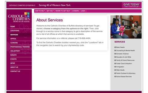 Screenshot of Services Page ccwny.org - Services : Catholic Charities of WNY - captured Jan. 26, 2016